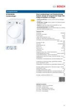 Product informatie BOSCH droger condens WTE84383NL