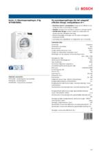 Product informatie BOSCH droger warmtepomp WTH85V90NL