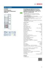 Product informatie BOSCH koelkast inbouw KIF40P60