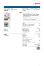 Product informatie BOSCH koelkast inbouw KIN86NSF0
