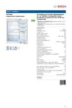 Product informatie BOSCH koelkast inbouw KIR18E62