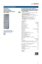 Product informatie BOSCH koelkast rvs-look KGV36VE32S