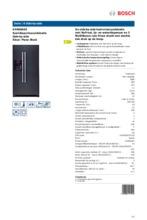 Product informatie BOSCH koelkast side-by-side zwart KAN58A55