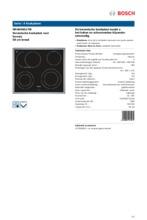 Product informatie BOSCH kookplaat keramisch NKH645G17M
