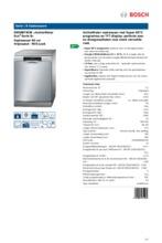 Product informatie BOSCH vaatwasser SMS88TI03E