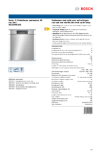 Product informatie BOSCH vaatwasser inbouw SGU2HVS20E