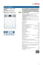 Product informatie BOSCH vaatwasser inbouw SMI86N05EU