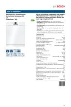 Product informatie BOSCH vaatwasser onderbouw SMD63N22EU
