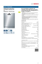 Product informatie BOSCH vaatwasser onderbouw SMU50L15EU