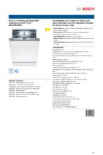 Product informatie BOSCH vaatwasser verhoogd inbouw SBV4HBX00N