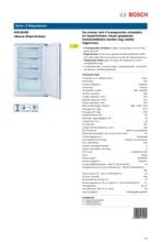 Product informatie BOSCH vrieskast inbouw GID18A50