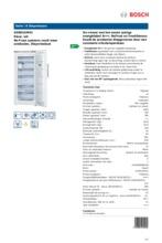 Product informatie BOSCH vrieskast wit GSN51AW41