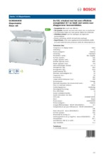 Product informatie BOSCH vrieskist wit GCM34AW30