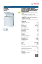 Product informatie BOSCH vrieskist wit GTM20A00