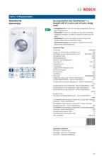 Product informatie BOSCH wasmachine WAE28327NL