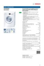 Product informatie BOSCH wasmachine WAQ28463NL