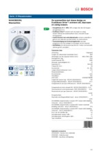 Product informatie BOSCH wasmachine WAW28592NL
