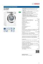 Product informatie BOSCH wasmachine WAYH2892NL