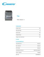 Product informatie CANDY vaatwas/fornuis keramisch rvs TRIO9503/1X
