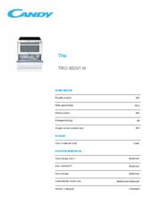 Product informatie CANDY vaatwas/fornuis keramisch wit TRIO9503/1W
