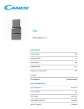Product informatie CANDY vaatwas/fornuis rvs TRIO9501/1X