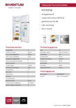Product informatie INVENTUM koelkast KV1431W