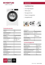 Product informatie INVENTUM wasmachine VWM9001W