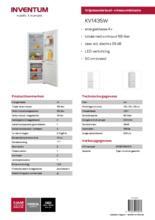 Product informatie Inventum koelkast KV1435W