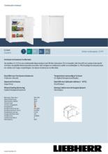 Product informatie LIEBHERR vrieskast tafelmodel G1223-21