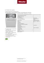 Product informatie MIELE vaatwasser inbouw G7166 SCVI XXL