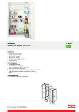 Product informatie PELGRIM koelkast inbouw PKD5102V