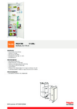 Product informatie PELGRIM koelkast inbouw PKS4178K