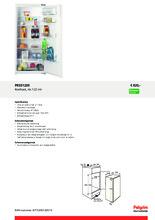 Product informatie PELGRIM koelkast inbouw PKS5122K