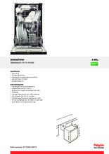 Product informatie PELGRIM vaatwasser inbouw smal GVW447ONY