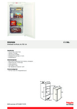 Product informatie PELGRIM vrieskast inbouw PVS3102N