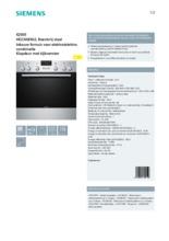 Product informatie SIEMENS combinatie oven inbouw HE23AB502
