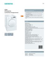 Product informatie SIEMENS droger afvoer WT34A281NL