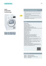 Product informatie SIEMENS droger condens WT46G490NL