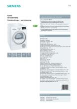 Product informatie SIEMENS droger warmtepomp WT45W490NL