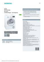 Product informatie SIEMENS droger warmtepomp WT47O5C9NL