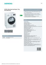 Product informatie SIEMENS droger warmtepomp WT47W5E7NL