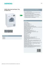 Product informatie SIEMENS droger warmtepomp WT48RT91NL