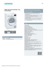 Product informatie SIEMENS droger warmtepomp WT8HXE90NL