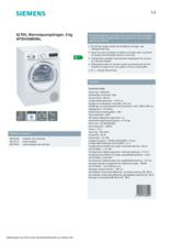 Product informatie SIEMENS droger warmtepomp WT8HXM90NL