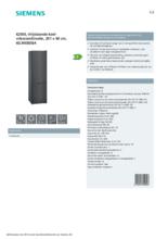 Product informatie SIEMENS koelkast blacksteel KG39E8XBA
