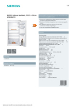 Product informatie SIEMENS koelkast inbouw KI20RNFF0
