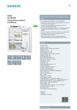 Product informatie SIEMENS koelkast inbouw KI21RED30