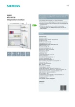 Product informatie SIEMENS koelkast inbouw KI21RVF30