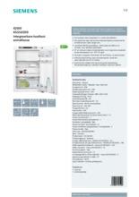 Product informatie SIEMENS koelkast inbouw KI22LED30