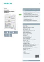 Product informatie SIEMENS koelkast inbouw KI31RED30